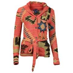 Ralph Lauren Silk/Linen/Cotton Handknit Aztec Belted Cardigan Sweater Sz S