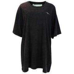 Off-White 2018 NWT Men's Oversized Printed Black Cotton-Jersey T-Shirt Sz L