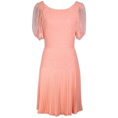 Peach Chiffon Dress with Pleating by Coco Chanel circa 1960s