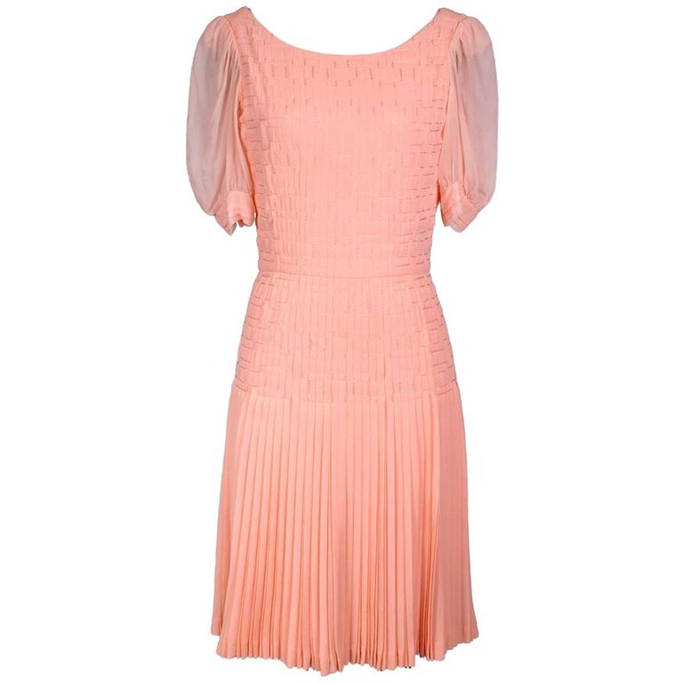 Peach Chiffon Dress with Pleating by Coco Chanel circa 1960s For Sale