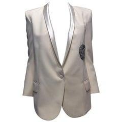Balmain Cream Tuxedo Jacket with Silver Eagle Bullion Crest, Size 36 (4)