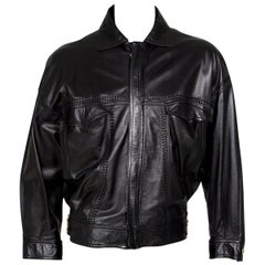 Versace Black Leather Jacket from the Bondage Collection, early 1990s