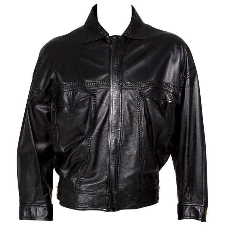 Versace Black Leather Jacket from the Bondage Collection, early 1990s For Sale