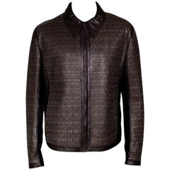 Gianfranco Ferre Men's Laser Cut Brown Leather Jacket