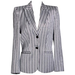 Alexander McQueen Pinstripe Blazer with Text Striping circa 1990s early 2000s