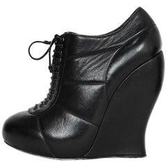 Nina Ricci Black Leather Wedge Lace Up Booties Sz 37
