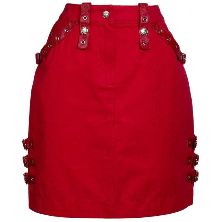 Galliano for Dior Red Mini Skirt with Bondage Details, circa 2000s