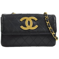 Chanel Black Leather Large Gold Charm Small Party Evening Flap Shoulder Bag