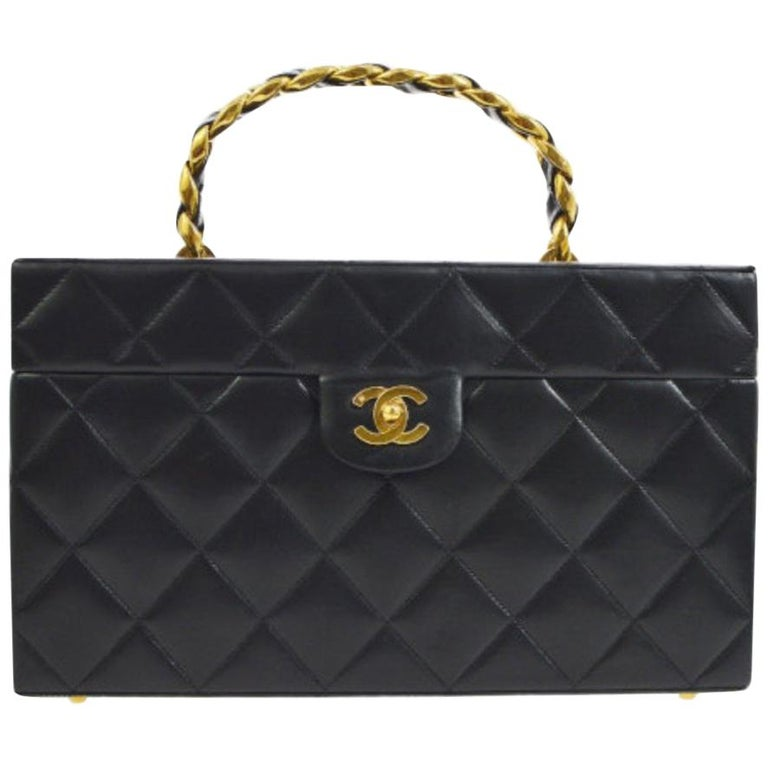 d0ae2b4f789a05 Chanel Rare Black Lambskin Leather Large Travel Carryall Top Handle Satchel  Bag For Sale