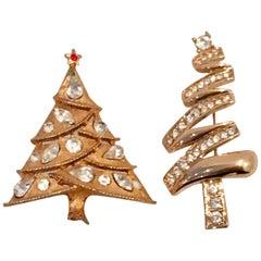 20th Century Pair Of Gold Tone & Swarovski Crystal Christmas Tree Brooches