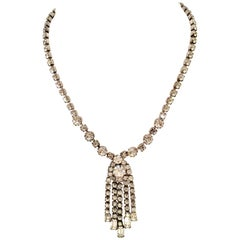 "Mid-20th Century Silver & Austrian Crystal ""Fringe"" Necklace By, Weiss"