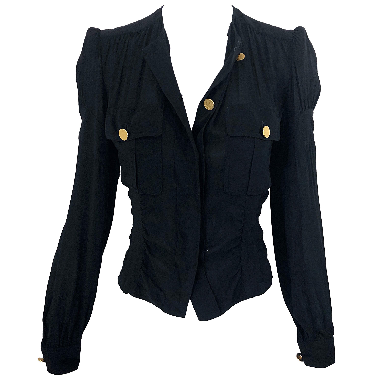 Vintage Donna Karan Collection 1990s Black Size 2 / 4 Puff Sleeve Shirt Jacket
