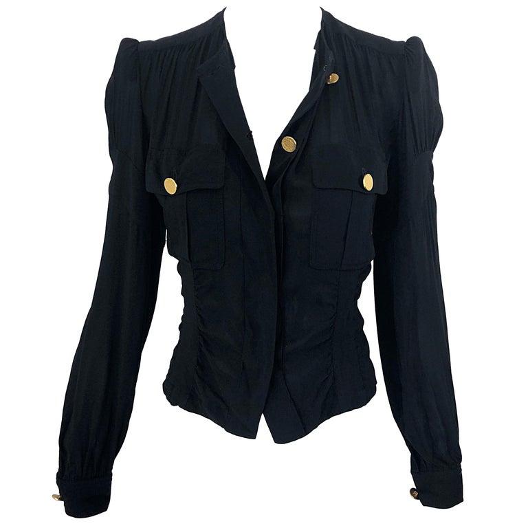 Vintage Donna Karan Collection 1990s Black Size 2 / 4 Puff Sleeve Shirt Jacket For Sale