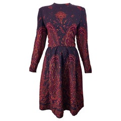 Chic Vintage Pauline Trigere Dark Purple Paisley Wool Challis Long Sleeve Dress