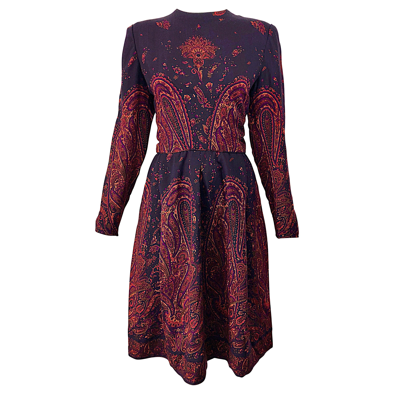 Chic Vintage Pauline Trigere Dark Purple Paisley Wool Challis Long Sleeve Dress