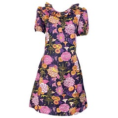 Chic 1960s Lotus Orchid Novelty Flower Print Short Puff Sleeve A Line 60s Dress