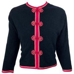 1950s Monhan's Ltd. Black Pink Asian Wool Hong Kong Vintage 50s Cardigan Sweater