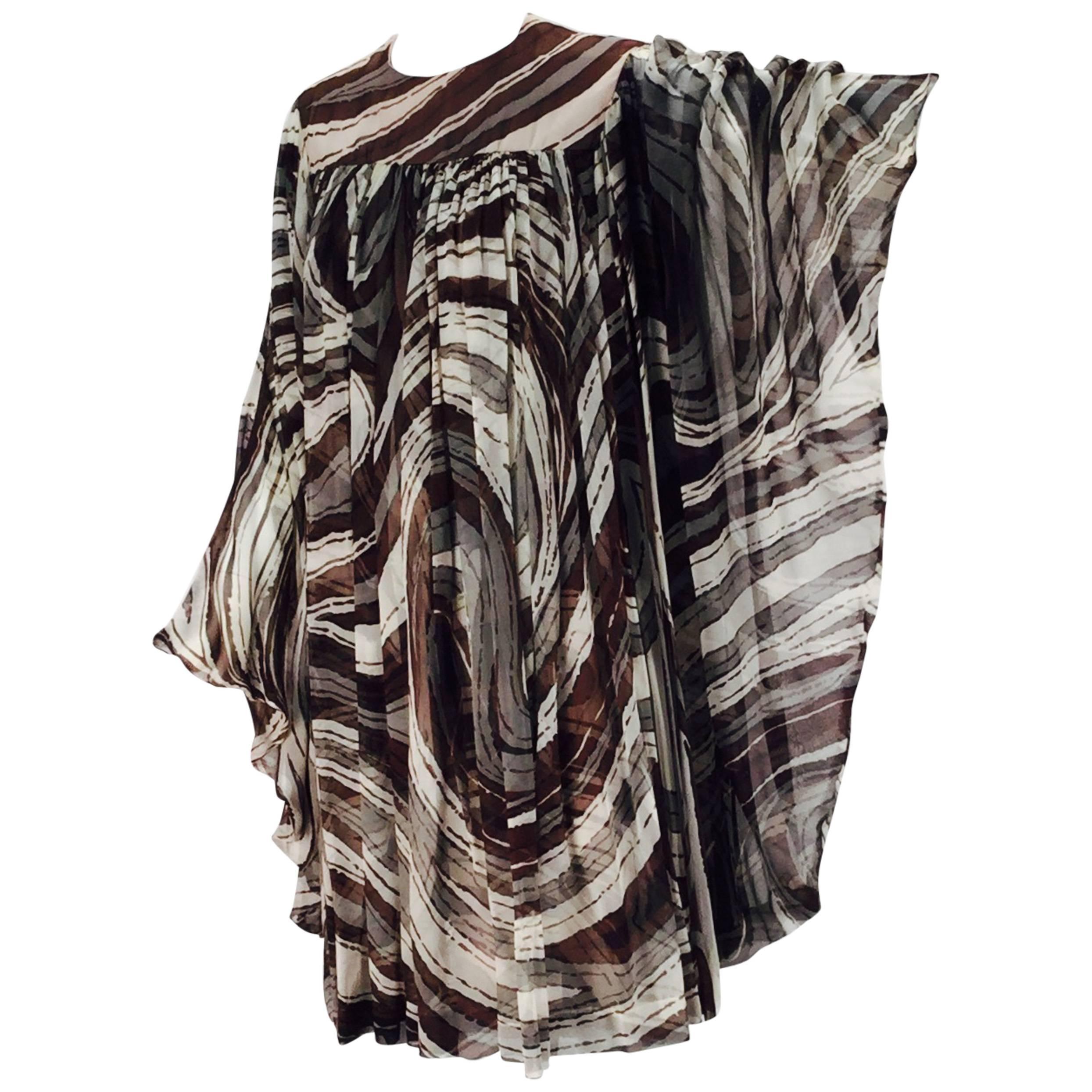 1960s Donald Brooks Swirl Print Batwing Dress