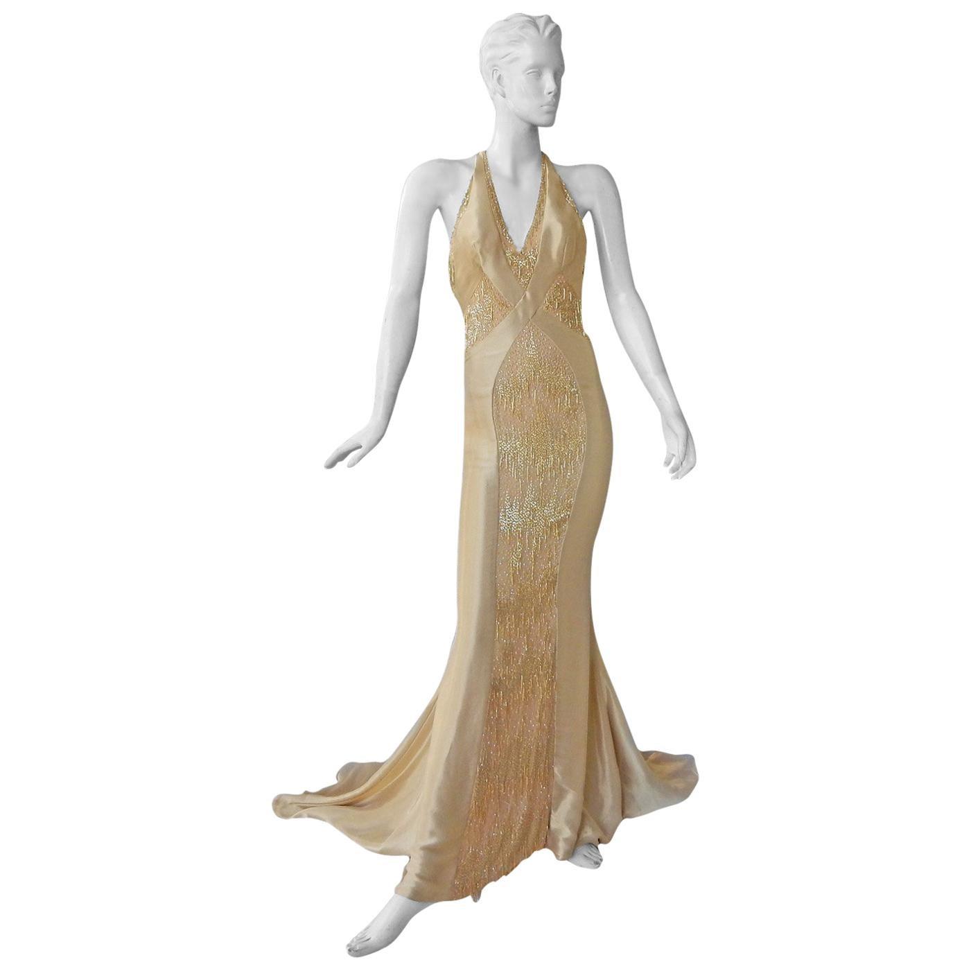 Atelier Versace Golden Waterfall Swan Tail Dress Gown