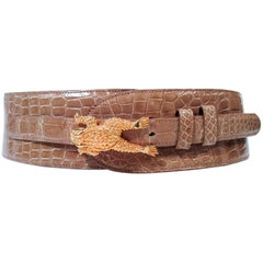 BARRY KISELSTEIN-CORD Nude Alligator Belt Goldtone Sterling Frog Buckle Large