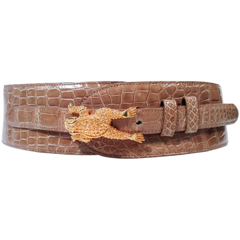 BARRY KISELSTEIN-CORD Nude Alligator Belt Goldtone Sterling Frog Buckle Large For Sale