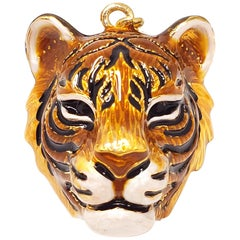 "Jay Strongwater ""Delightful"" Enamel Tiger Head Charm in Gold"