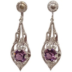 Antique Victorian Art Nouveau Silver Plated Crystal Dangling Screwback Earrings