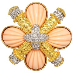 KJL Kenneth Jay Lane Crystal and Coral Colored Maltese Cross in Gold