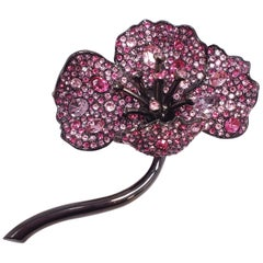 KJL Kenneth Jay Lane Pave Amethyst Colored Crystal Flower Brooch in Black Metal