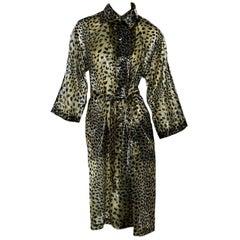 Vintage Givenchy Leopard-Print Sheer Coat