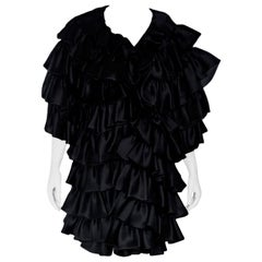 Black Vintage Oscar de la Renta Ruffled Evening Coat