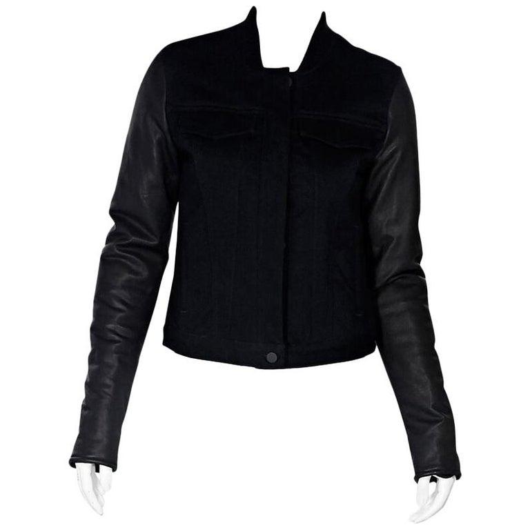 Black Alexander Wang Leather-Sleeve Denim Jacket