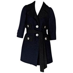 Navy Blue & Dark Brown Marc Jacobs Wool-Blend Coat