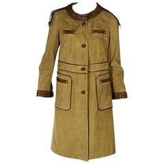 Tan Etro Patent Leather-Trimmed Suede Coat