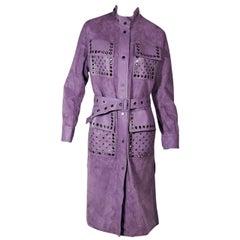 Purple Bottega Veneta Suede & Leather Reversible Coat