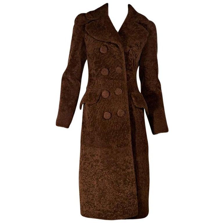 Brown Bottega Veneta Double-Breasted Lamb Fur Coat