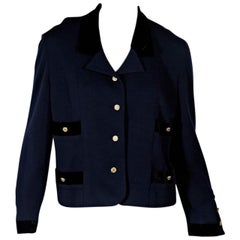 Navy Blue Vintage Chanel Button-Front Jacket