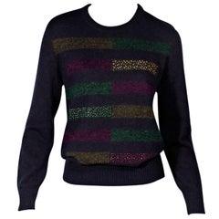 Navy Blue Chanel Metallic Striped Wool Sweater