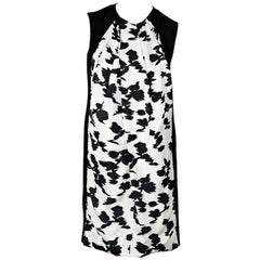 White & Black Balenciaga Floral Shift Dress