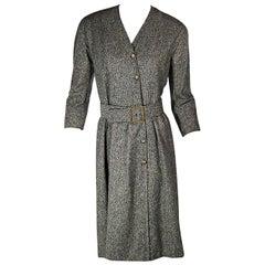 Black & White Vintage Chanel Belted Tweed Dress