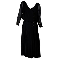 Black Vintage Chanel Pleated Dress