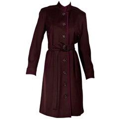Burgundy Vintage Yves Saint Laurent Wool Coat