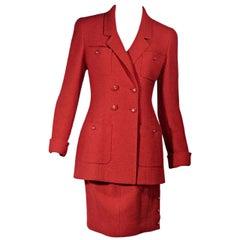 Red Vintage Chanel Skirt Suit Set