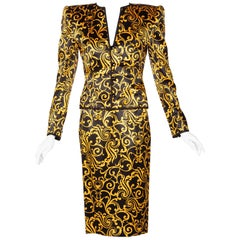 1980s Odicini Couture Black and Yellow Silk Strapless Cocktail Dress and Jacket