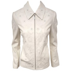 St. John Embroidered Winter White Lambskin Leather Jacket