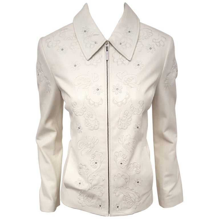 29abb38c7 St. John Embroidered Winter White Lambskin Leather Jacket For Sale ...