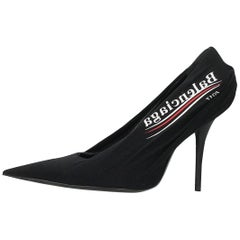 Balenciaga NEW Black Red White Logo Sock Evening Heels Pumps in Box