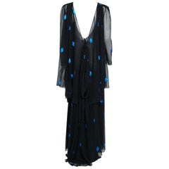 1972 Christian Dior Paris Metallic Black Blue Silk Chiffon Backless Draped Gown