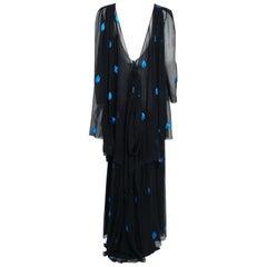 1972 drapiert Christian Dior Paris Metallic Schwarz Blau Seidenchiffon Rückenfreies Kleid