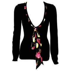 Dolce & Gabbana Black Knit V Neck Cardigan  W/ Attached Tulip Scarf